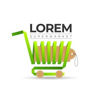 ショッピングカートのスーパーマーケットのロゴ
