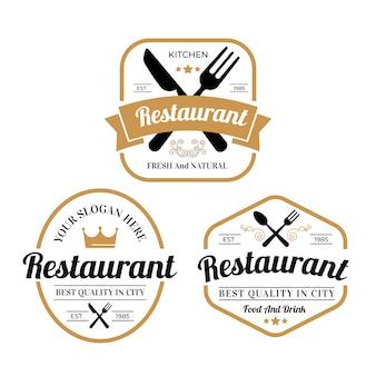 Коллекция старинных логотипов ресторана иллюстрации