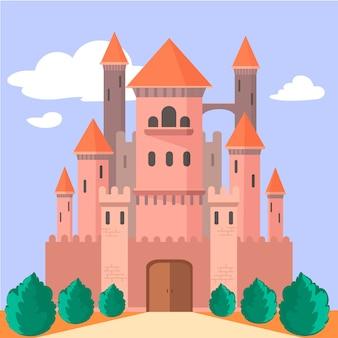 フラットなデザインのおとぎ話の城