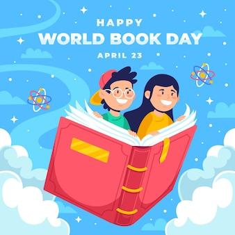 Счастливый мир книжного дня фон