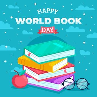 Всемирный книжный день плоский дизайн
