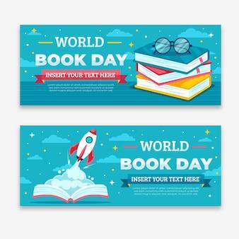 Всемирный день книги баннеры плоский дизайн