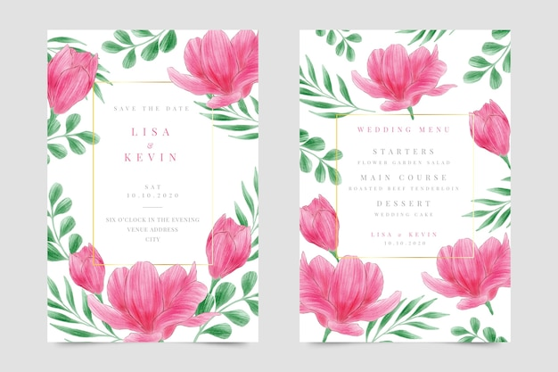 Цветочное свадебное приглашение в акварели