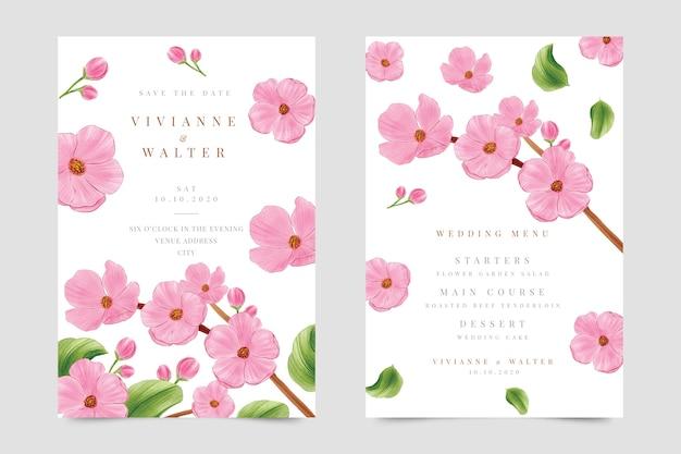 Прекрасное цветочное свадебное приглашение
