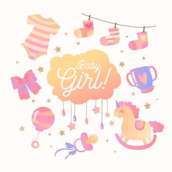 Розовая девушка детского душа