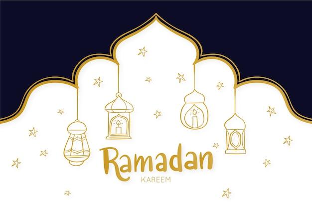 手描きのラムダンのお祝いのテーマ
