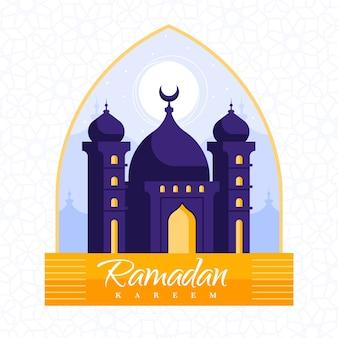 モスクとフラットなデザインのラマダンの壁紙