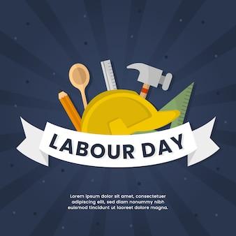 フラットなデザインの労働者の日の概念