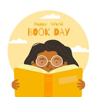 幸せな世界の本の日フラットなデザイン