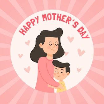 幸せな母の日フラットデザイン