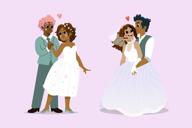 図解結婚式のカップルコレクション