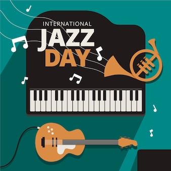 Международный день джаза с плоским дизайном