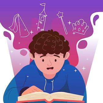 読んでいる少年の創造的なおとぎ話イラスト