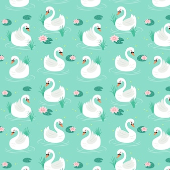 エレガントな白鳥のシームレスパターン