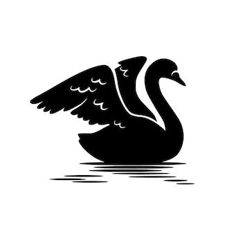 Лебедь силуэт и отражение