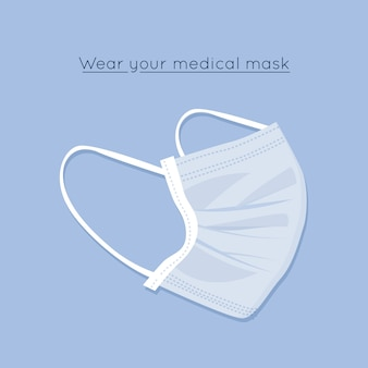 フラットなデザインの医療マスクテーマ