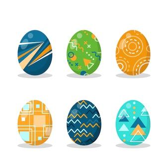 Плоский дизайн коллекции пасхальных яиц