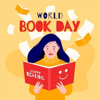 Плоский дизайн мир книжного дня концепция