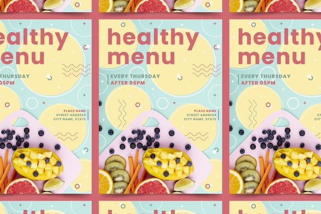 写真付きの健康食品レストランポスターテンプレート
