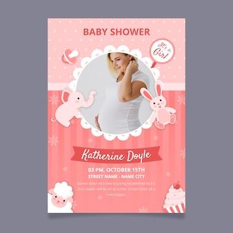 写真の赤ちゃん女の子シャワー招待状テンプレート