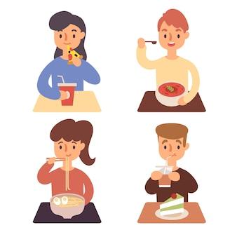 食べ物イラストを持つ人々