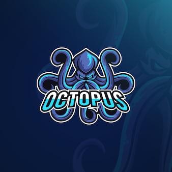 Стиль игрового логотипа с осьминогом