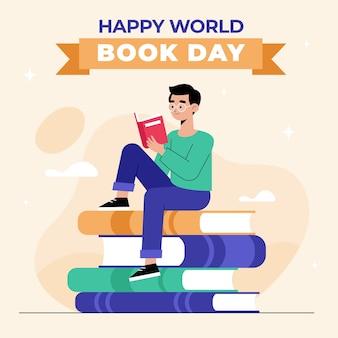 フラットなデザインの世界本の日