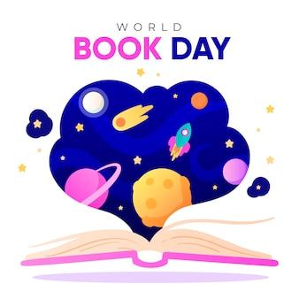 幸せな世界の本の日水彩デザイン