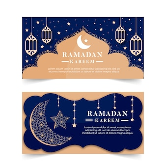 Плоский дизайн концепции рамадан баннеры