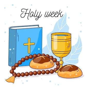 フラットなデザインの聖週間と聖書