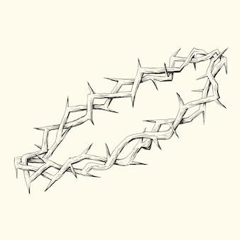 現実的な手描きのとげの境界線