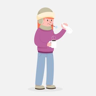 Человек с холодной иллюстрацией