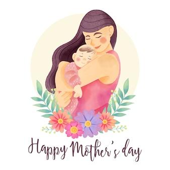 Акварельное поздравление с днем матери
