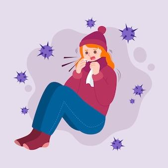 Иллюстрация с человеком с холодной концепцией