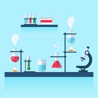 フラットなデザインの科学実験室の図