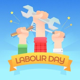 フラットなデザインの労働者の日のテーマ