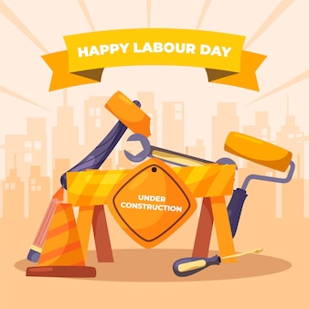 幸せな労働者の日手描き