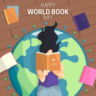 幸せな世界の本の日の少女と地球