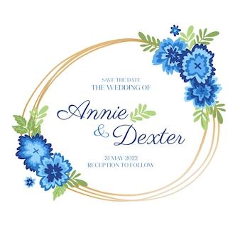Свадебная цветочная рамка с плоским дизайном
