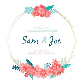Плоская свадебная цветочная рамка