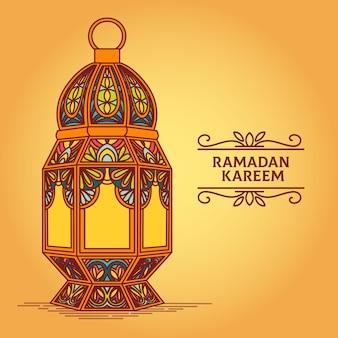 手描きのラマダンのお祝いのコンセプト