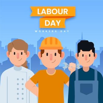 フラットなデザインの労働者の日幸せな労働者