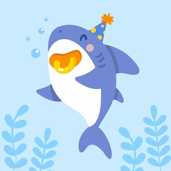 Плоский дизайн ребенка акула характер