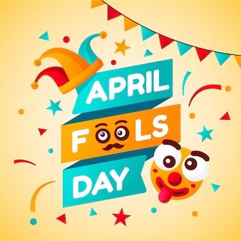 Плоский дизайн апреля день дураков тема