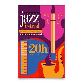 Нарисованный рукой шаблон плаката международного дня джаза