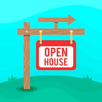 矢印の付いたオープンハウスサイン