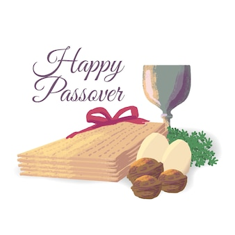Счастливый традиционный еврейский пасхальный праздник акварельный эффект