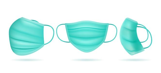 Реалистичная медицинская маска под разными углами