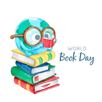 水彩世界本の日の概念