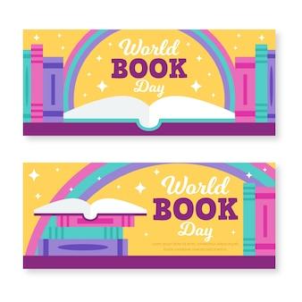 Счастливый мир книжного дня плоский дизайн баннера